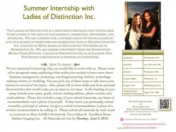 Summer Internship With Ladies of Distinction